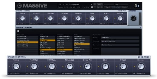 Native Instruments Massive, controles macro